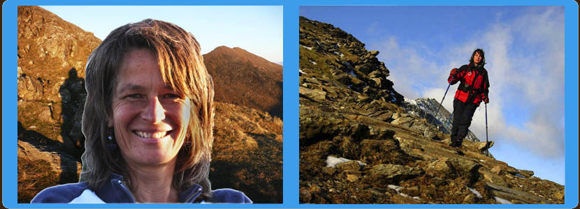 2x pictures of Gail, your leader in the mountains